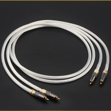 Pair Hifi Audio RCA Cable Silver Plated Wire WBT Adapter for Audiophile CD Amplifier