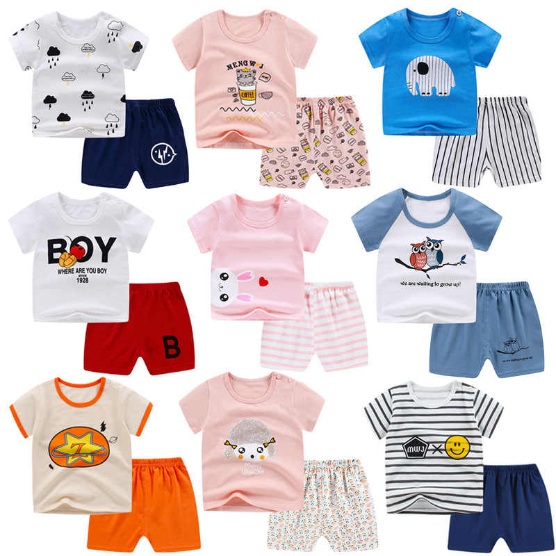 New children/'s summer short-sleeved cotton t-shirt suit boys and girls