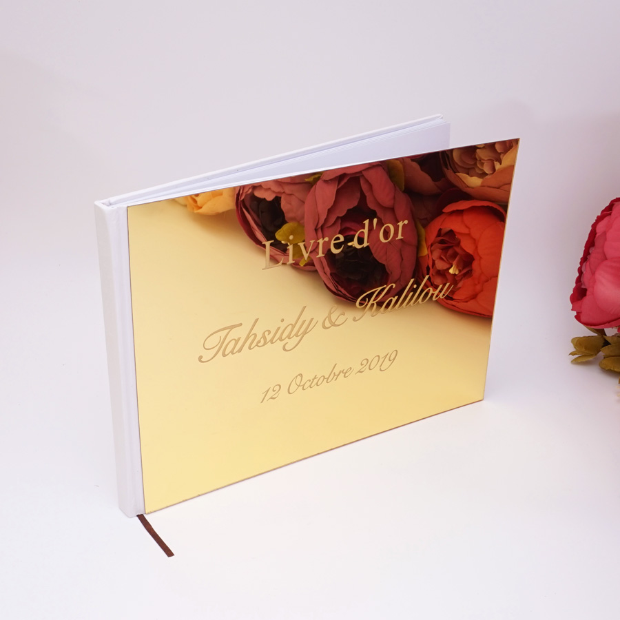 Horizontal  25x18cm Personalized Acrylic Wedding Party Guest Book Engraved Custom Gifts Mirror Signature