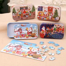 60 Pieces Children Wooden Jigsaw Puzzle Christmas Santa Claus Educational Toy square puzzle educational wooden interlock toy christmas present