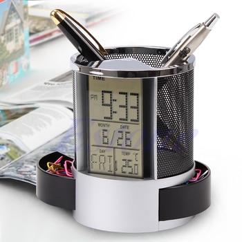 lcd digital alarm clock desk pencil pen holder transparent pen holder calendar container organizer built in cr2025 battery Digital LCD Desk ALarm Clock & Mesh Rulers Pen Pencil Holder Time Temp Calendar WXTA