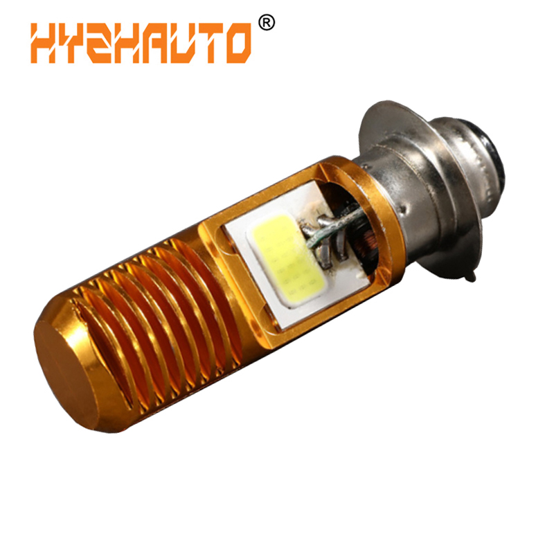 HYZHAUTO 1Pcs H6M PX15D P15D <font><b>LED</b></font> Motorcycle Headlight Bulb White 1200Lm 12W COB <font><b>LED</b></font> Moto Bike Scooter ATV Moped Headlamp <font><b>12</b></font>-<font><b>80V</b></font> image