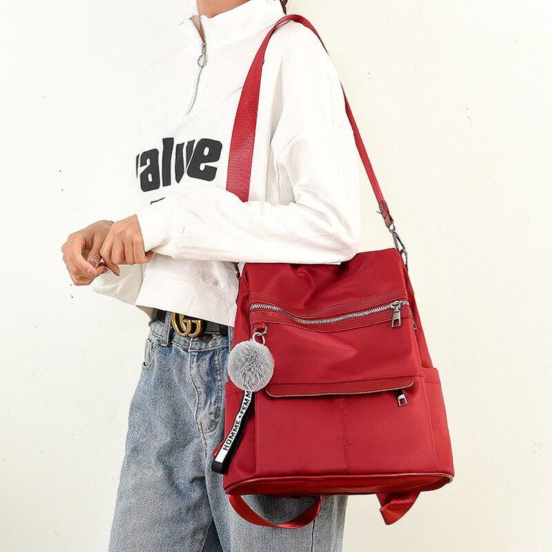 Водонепроницаемый рюкзак из ткани Оксфорд с защитой от кражи, простая ветрозащитная сумка для колледжа, молодежный рюкзак для девушек, подарок с подвеской в виде шарика для волос, 2020-4