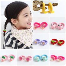 20Pcs/lot Cartoon Baby Hair Band For Girls Fruit/Flower Lovely Solid Elastic Nylon Rope Childern Kids Accessories