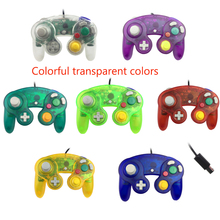 Transparent color USB Wired Gamepad Controller Joypad with Single Point For GameCube PC for N-G-C Joystick with tracking number wired game controller gamepad for n gc joystick with one button for gamecube for wii