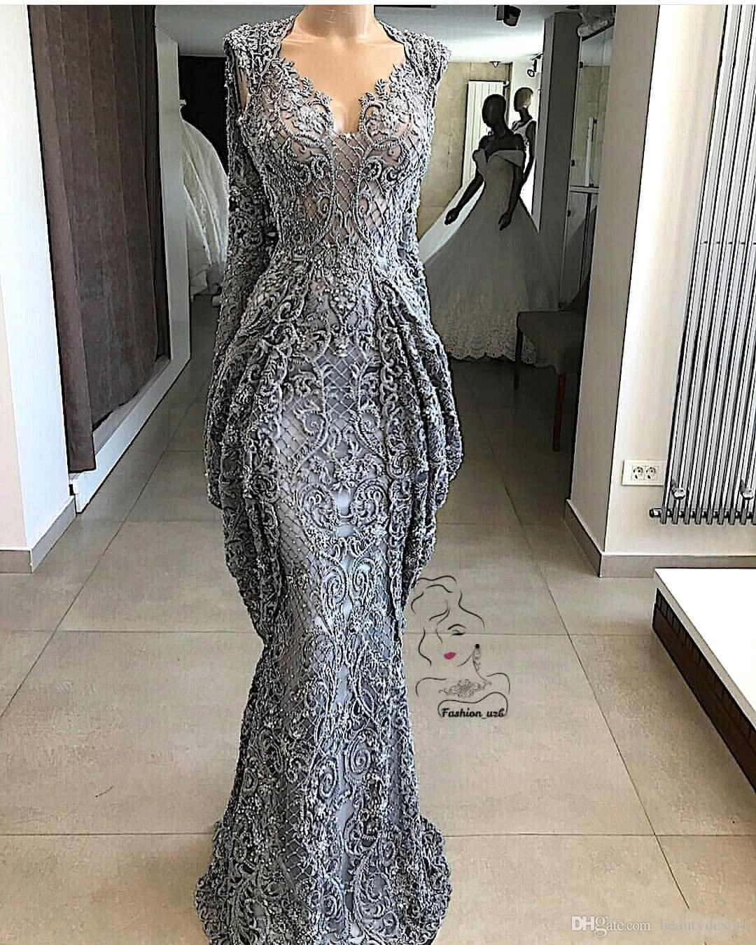 2019 Lace Sheath Lace Evening Dresses Mermaid Sequins Formal Event Party Gown Plus Size Pageant Dresses Custom Made