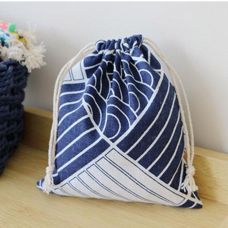 Japanese Blue Wave Linen Jewelry Gift Bag 9x12cm 11x14cm 13x17cm 15x20cm Pack Of 50 Party Candy Sack Drawstring Storage Pouch