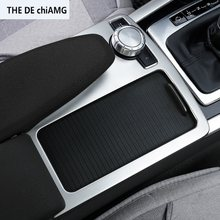 Konsol Tengah Mobil Gear Shift Cangkir Air Panel Dekorasi Hiasan Penutup Stainless Steel untuk Mercedes Benz C Class W204 2008 -14(China)