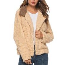 LASPERAL Autumn New Women's Short jacket Lamb Wool Long Sleeve Outfit Zipper Coat Hooded Slim Coat Winter Warm Casual Outwear цены онлайн