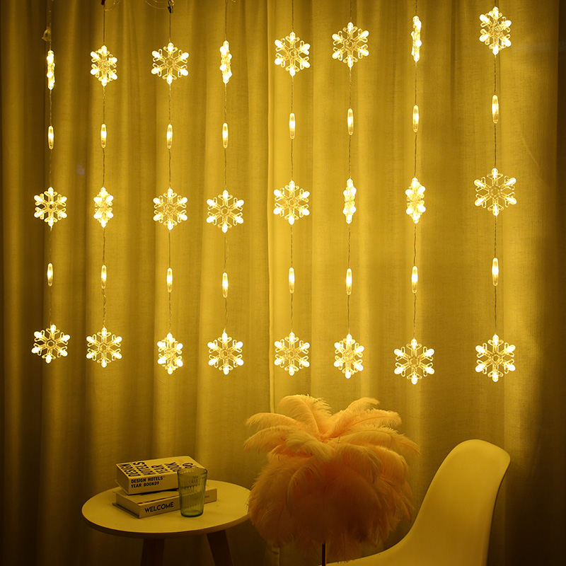 2.5M Led Icicle Curtain Fairy String Light AC220V Snowflake Christmas Garland Light For Wedding Holiday Party Home Window Decor