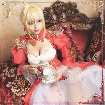 High Quallity Japanese Anime Fate/EXTRA Nero Claudius Caesar Augustus Germanicus  Dress Woman  Cosplay Costume Dress+Accessory