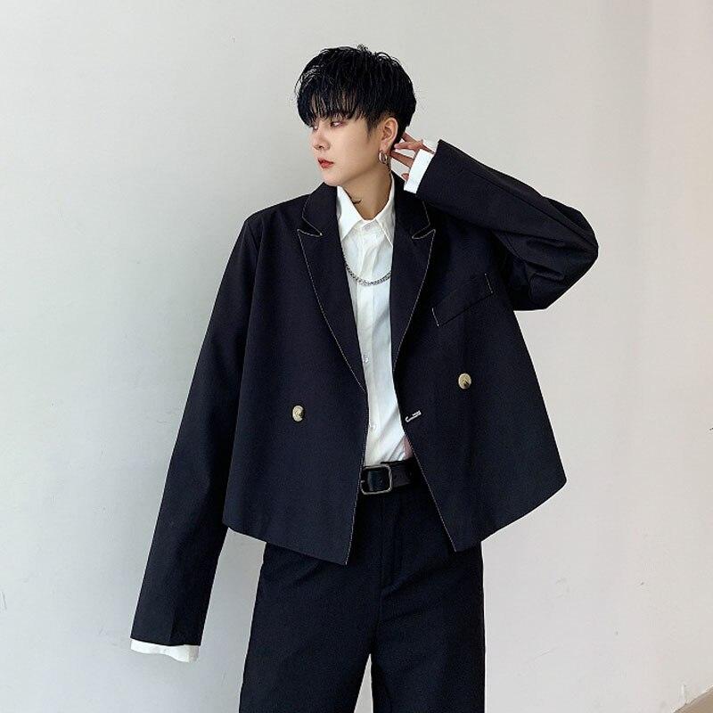 Homens Soltos Casual Estilo Curto Paletó Masculino Vintage Da Moda Hip Hop Streetwear Japão Gótico Blazer Terno Casaco Outerwear