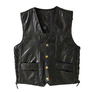 PU Vests Men Sleeveless Jacket Vest Male Streetwear Lether Punk Hip Hop Black 2019 New Brand Motorcycle Waistcoat Jackets Coats 8