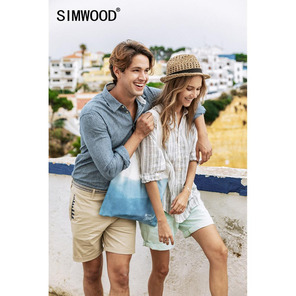 SIMWOOD 2020 Summer New 100% Linen Shirts Men Vertical Striped Breathable Plus Size Three Quarter Sleeve Shirt SJ170267