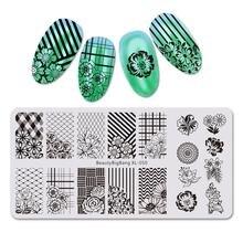 Beautybigbang 6*12 см пластины для стемпинга ногтей прямоугольник