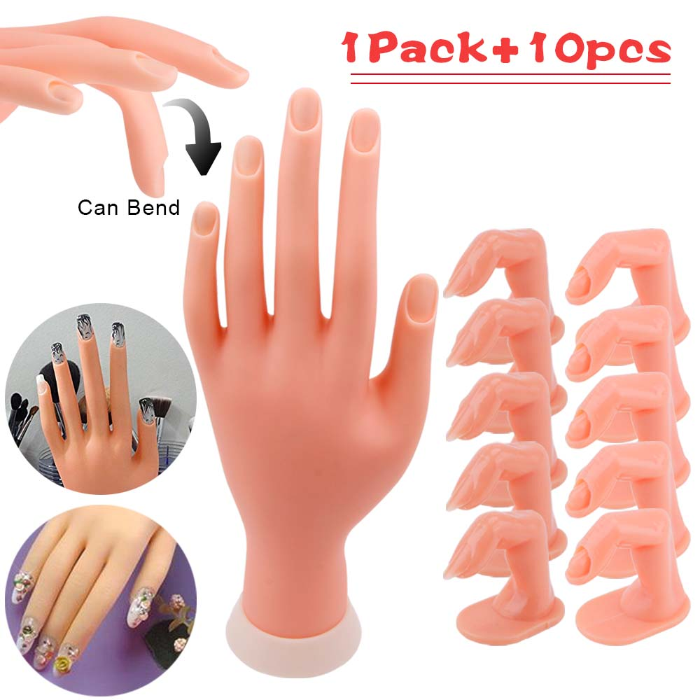1Pc Flexible Soft Plastic Hand +5/10pcs Practice Fake Finger For Nail Art Acrylic UV Gel Training Display Model Manicure Tools