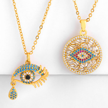 Turkish Evil Eye Necklace Gold Cubic Zirconia Greek Blue Pendant For Womens Fashion Jewelry Accessories nke-p61