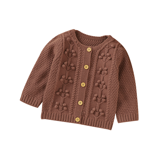 Newborn Infant Kids Baby Girls Sweater Long Sleeved Solid Knit Pullover Tops