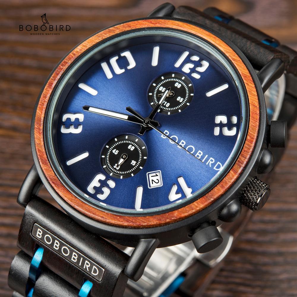 BOBO PÁSSARO relogio masculino Homens Relógio de Madeira Aço Inoxidável Cronógrafo Relógios de Pulso Masculino Top Marca de Luxo Militar Noivos Presente