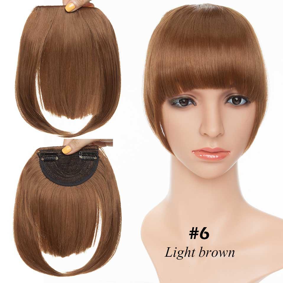 SNOILITE короткие передние тупые челки Клип короткая челка волосы для наращивания прямые синтетические настоящие натуральные накладные волосы - Цвет: light brown