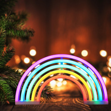 amagle usb battery powered flamingo neon lamp pink led strip wall hanging neon lights bedroom decoration marquee neon signs Rainbow Shape Neon LED Night Light USB/Battery Powered Bedroom Decor Lamp NightLight For Children's Bedroom Decoration