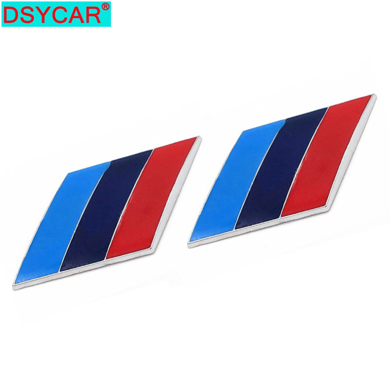 DSYCAR  2Pcs/Pair 3D Metal Tricolor Car Body Side Fender Rear Trunk Emblem Badge For ALL Models BMW X1 X3 X5 X6 1 3 5 6 7 Series