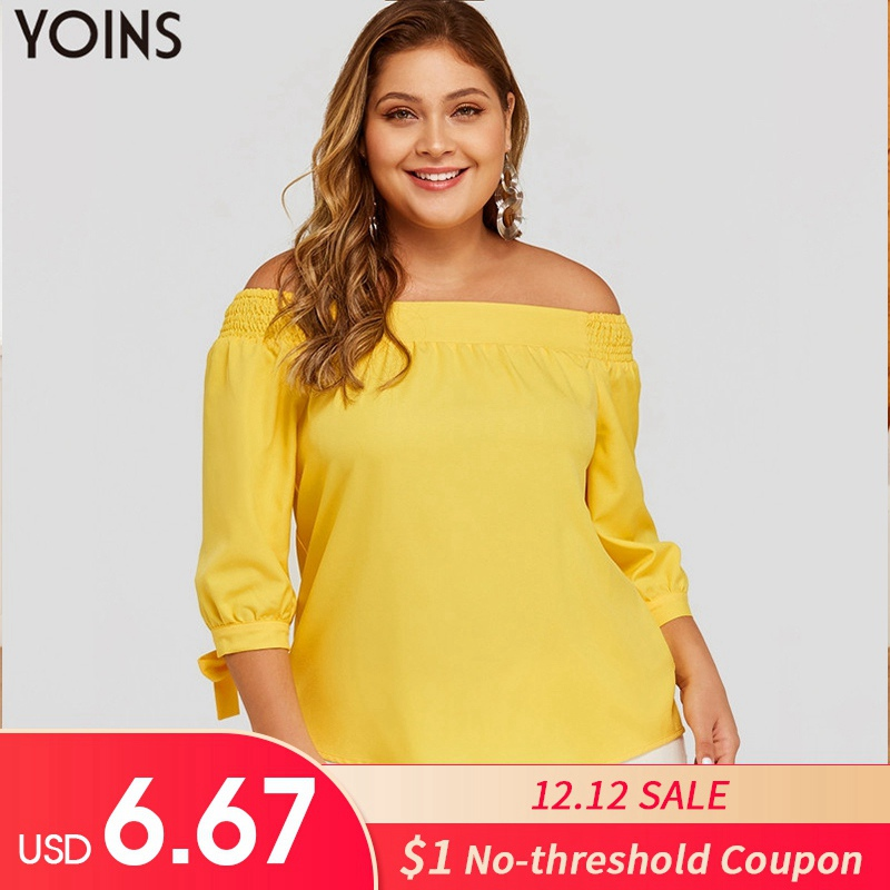 YOINS Plus Size Women Sexy Off The Shoulder Tops 2019 Summer Autumn Blouses Shirts Casual Three Quarter Sleeve Blusas Femininas