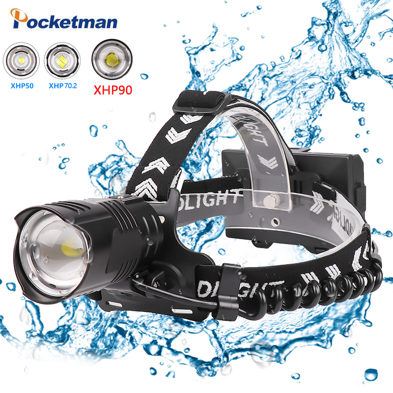 8000 Lumen XHP90 Led Headlamp Camping Fishing Headlight Most Power Lantern Head Lamp Zoomable USB Torches Flashlight Use 18650