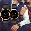 Couples Casual Leather Strap Wristwatch Set