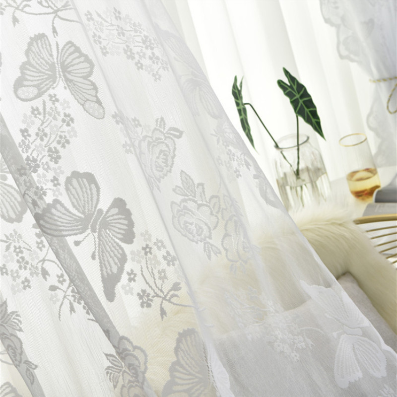 White Butterfly Tulle Curtain For Living Room Bedroom European Design Sheer Drapes Kitchen Curtains White Gauze