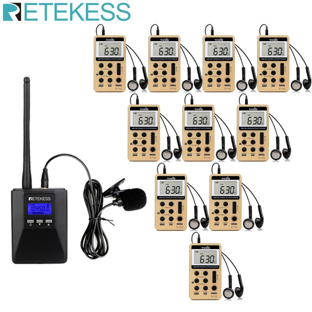 Retekess TR506 Transmitter with Portable AM FM Radio Receivers Support Microphone AUX Input for Church Translation