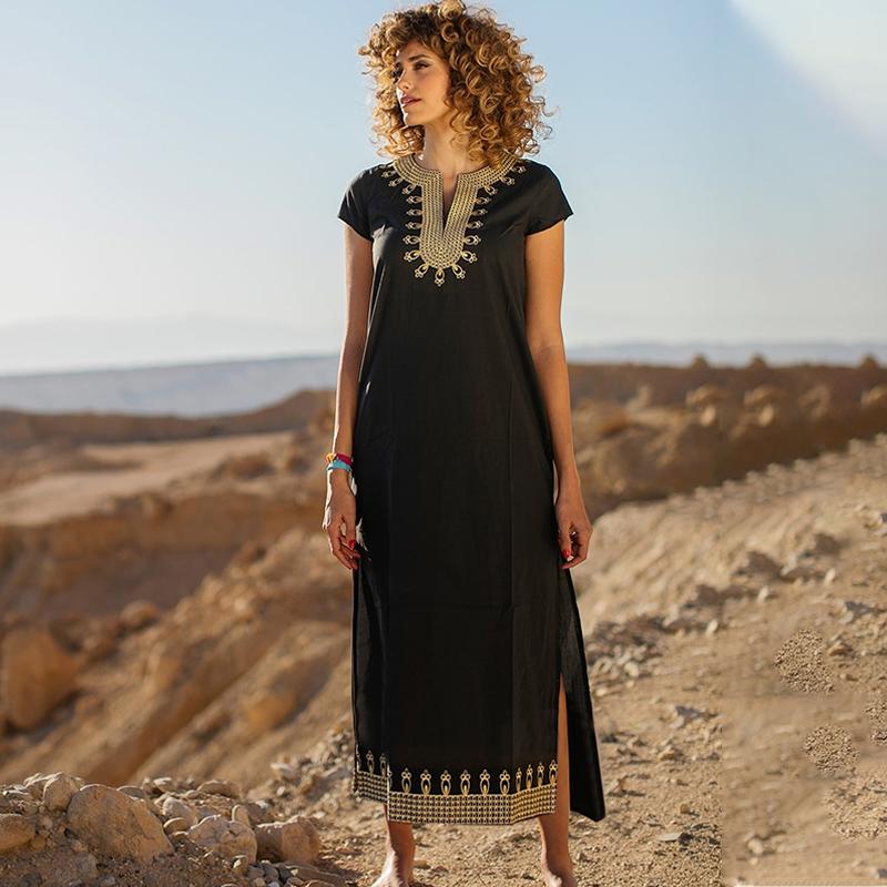 Boho Elegant Embroidered Mandarin Collar Short Sleeve Side Split Summer Dress Women Street Wear Casual Maxi Dress N1154