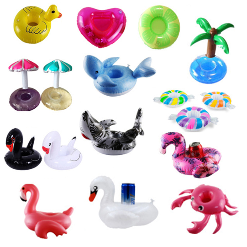 Flamingo Inflatable Cup Holder Swimming Pool Float Toy Party Decoration Floating Animal Fruit Series Drink Cup Holder