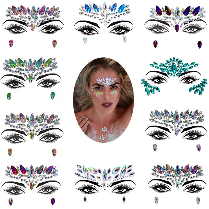 5  Eyebrow Eye Face Adhesive Acrylic Resin Drill Diamond Face Stick Sticker Handicrafts Rhinestone DIY Phone Case Jewelry Sticker