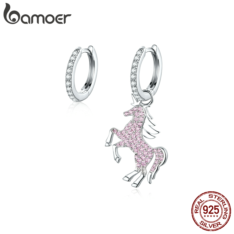 Bamoer Authentic 925 Sterling Silver Pink Fancy Licorne Dangle Earrings For Women Luxury Brand Bijoux Valentine Gifts BSE337