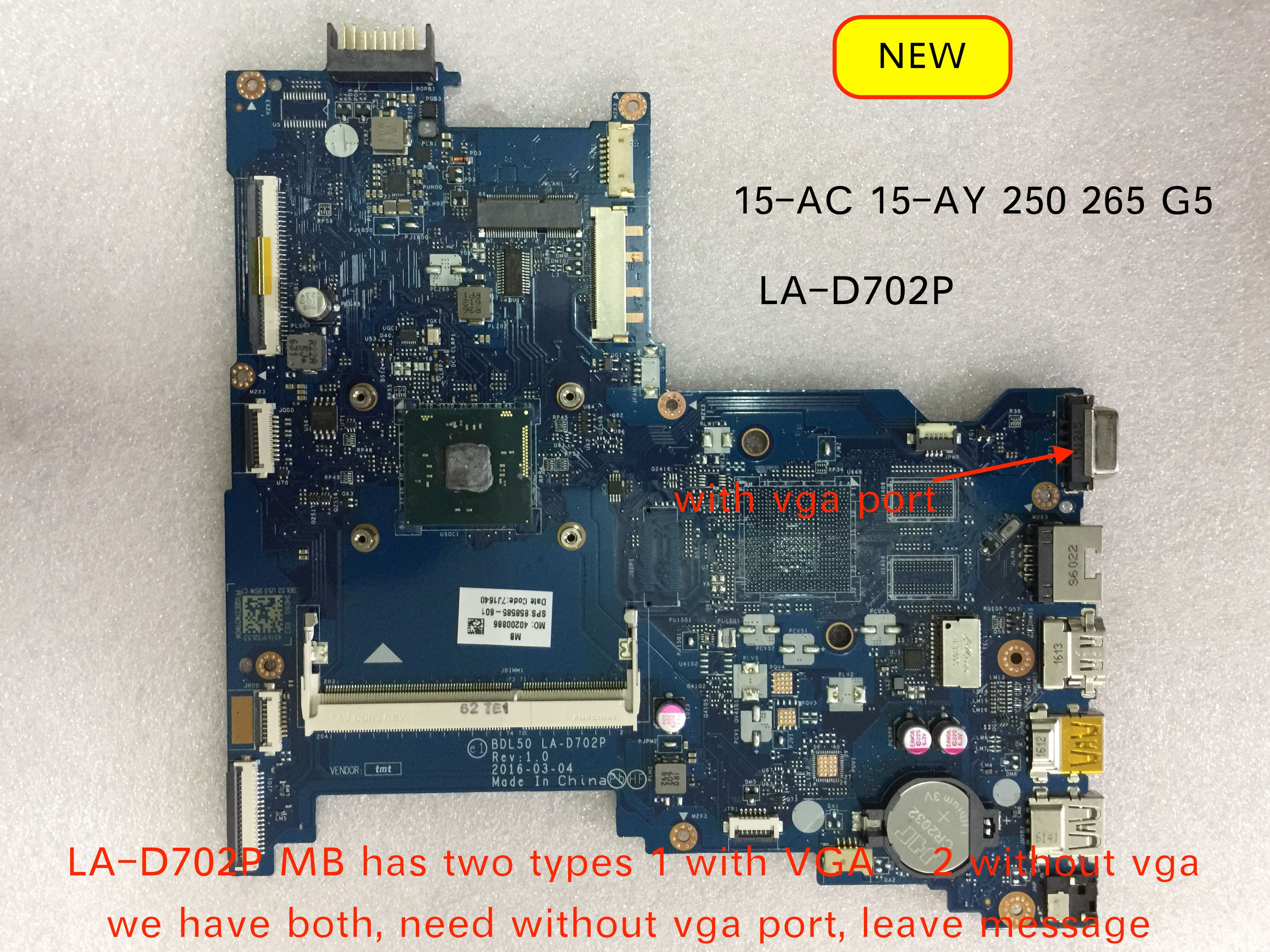 100% Working 858585-001 BDL50 LA-D702P For 15-AC 15-AY 250 256 G5 Motherboard