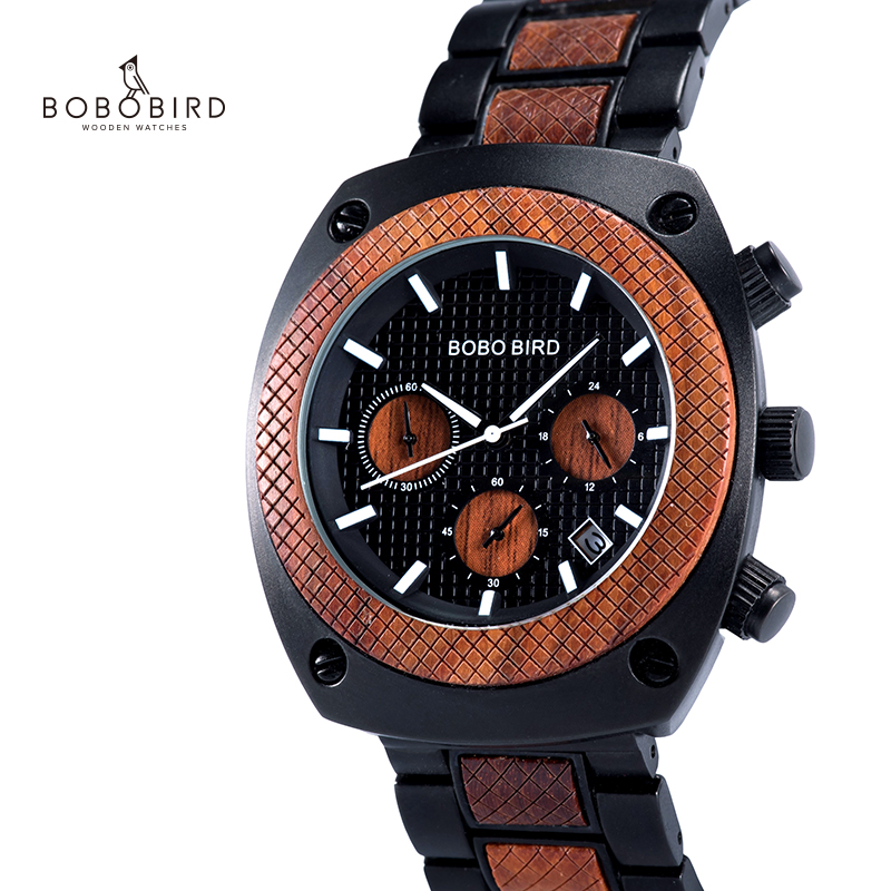 BOBO BIRD Wood Watch Men Stopwatches Handmade Erkek Kol Saati Japan Movement Quartz Wristwatch Gift For Male Dropshipping