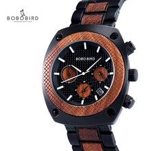 BOBO BIRD Wood Watch Men Stopwatches Handmade erkek kol saati Japan Movement Qua