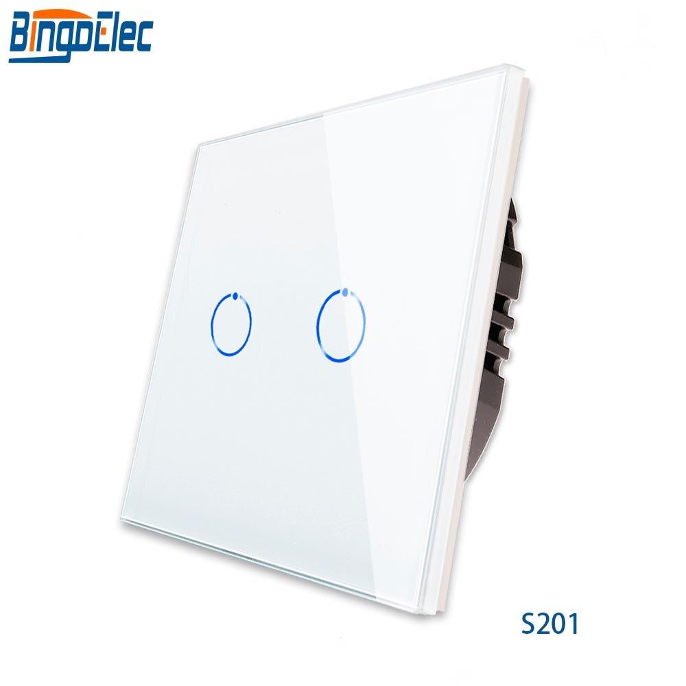 Bingoelec Interrupteur Mural Cristal Interrupteur Tactile en Verre 220v 2gang 1way Puissance 1000W S201 ROYAUME-UNI/UE standard, 110V-250V