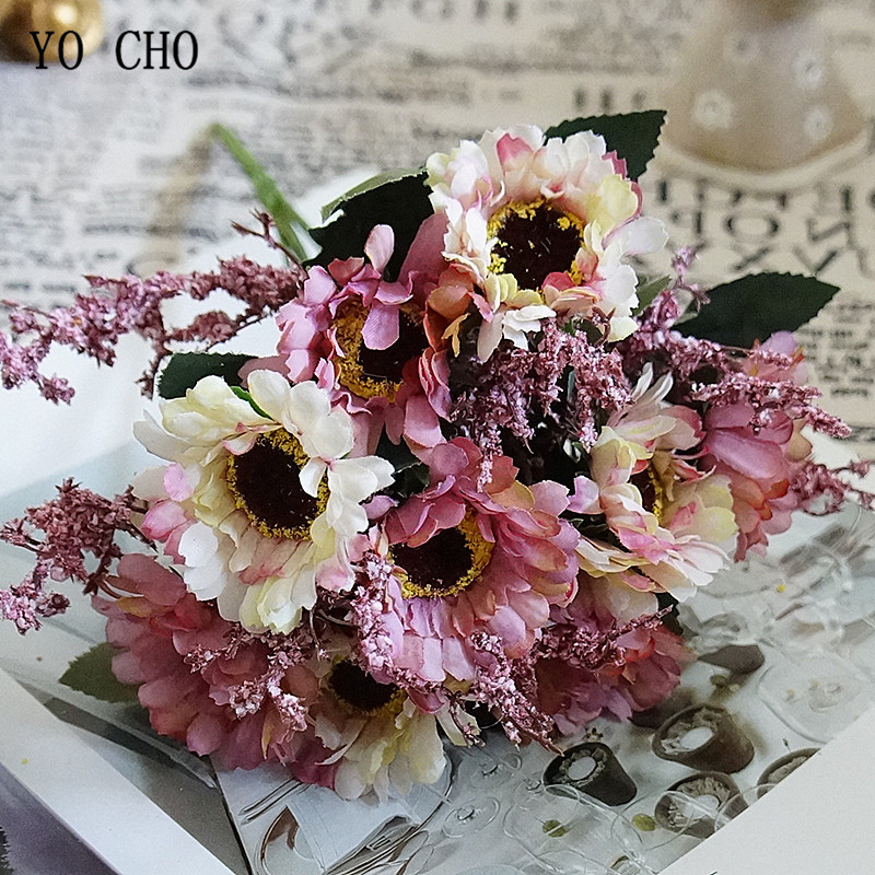10 Heads Mini Silk Artificial Flowers Daisy Fleur Artificielles Gerbera For Wedding Table Home Vase Decor Fake Flowers Bouquet