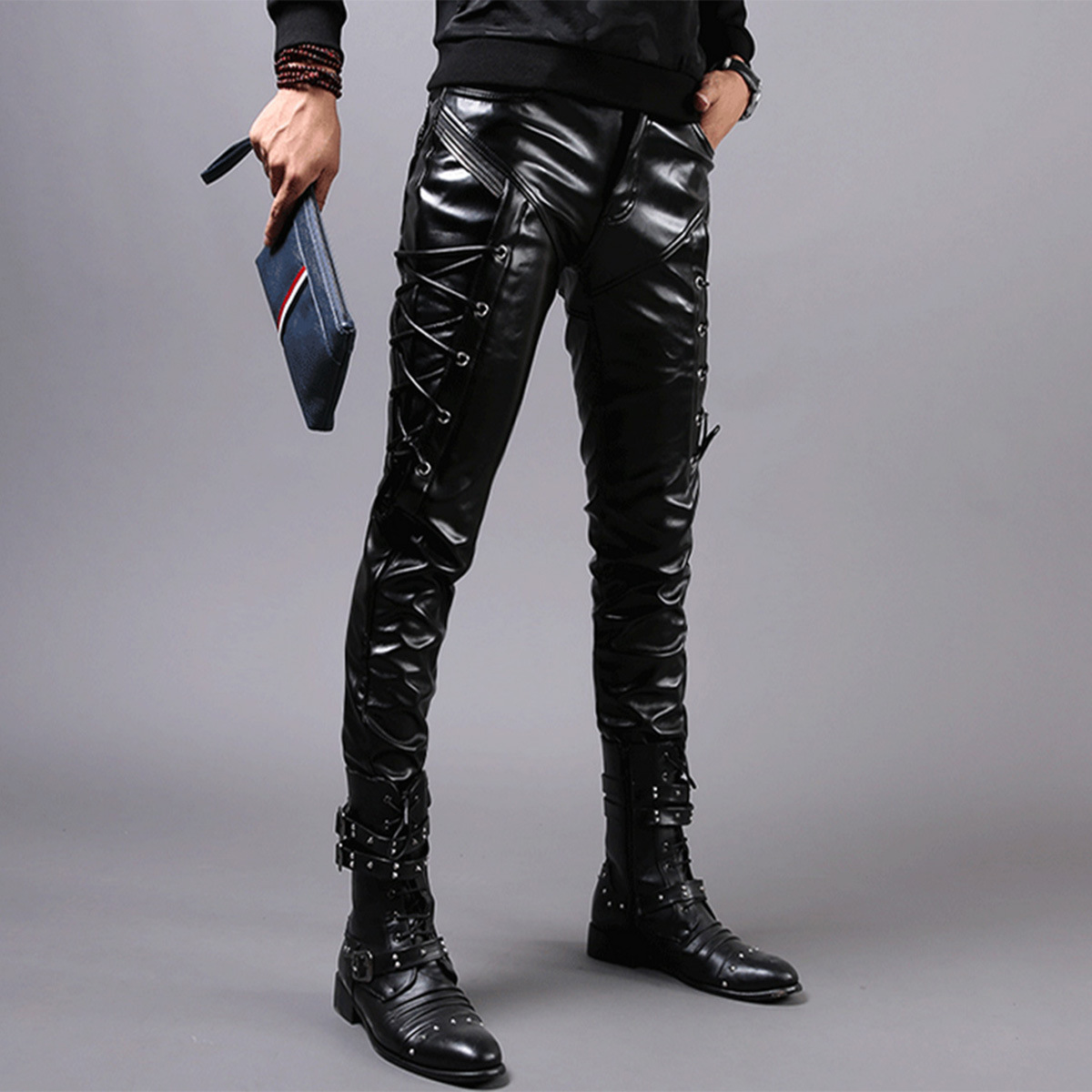 Moto Biker Streetwear 2020 Fashion Leather Pencil Pants For Men Plus Size 28-38 Black+zipper+sweatpants+faux Leather+windbreak