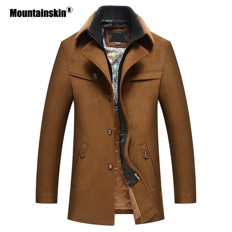 Mountainskin Men's Woolen Coat Winter Autumn Wool Jackets Windbreaker Thick Warm Lapel Coat Casual Male Brand Clothing SA858