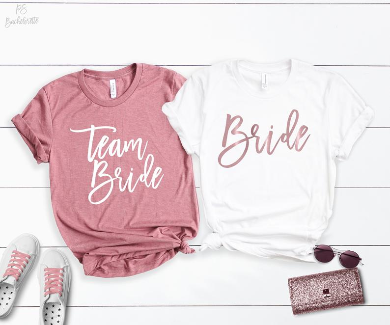 Bachelorette Team Braut Party Shirts Mode Brief Baumwolle O Neck Dame Plus Größe Kurzarm Top Tees brautjungfern top frau