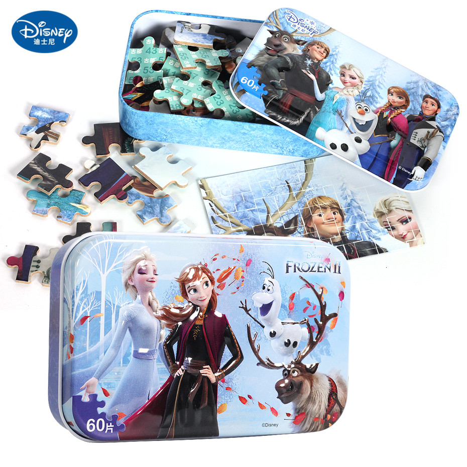 Disney 60 PcsPrincess Frozen 2 Toy Wooden Box Puzzle Early Education Children Bottom Box Puzzle Toys Birthday Present Kid Toys