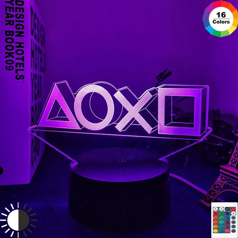 3D ночника игровая комната стол Настройка светильник ing Декор на столе игровой консоли значок Логотип Сенсор светильник для детей ночники по...