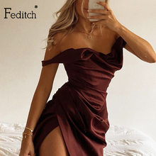 Feditch 2020 Autumn and winter New Fashion women sexy Dress off shoulder Bodycon Robe pleated High slit Night Club Party dresses