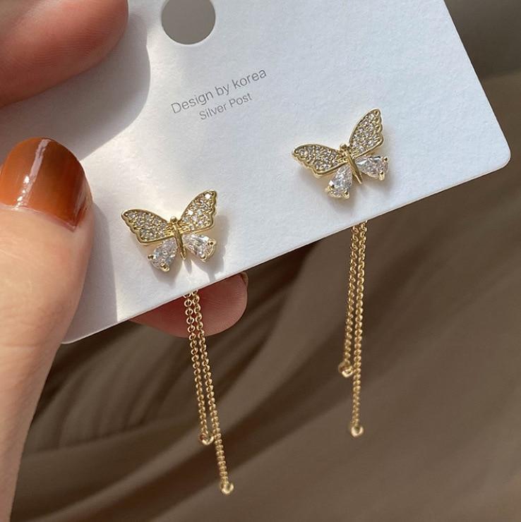 Long Earrings Women Bow Tassel Earings Front and Back Crystal Bowknot Drop Earring Female Long Temperament Butterfly Earrings