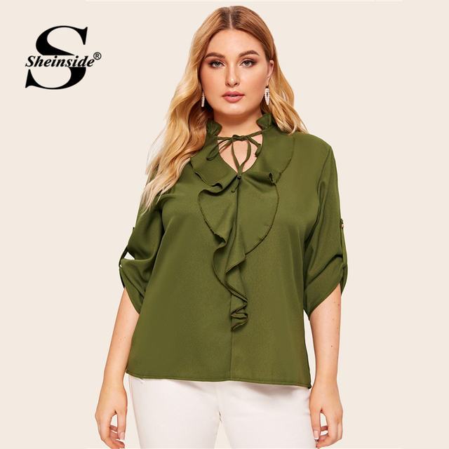 Sheinside Plus Size Casual Army Green Lace Up V Neck Blouse Women 2019 Autumn Roll Up Sleeve Blouses Ladies Ruffle Trim Top 4