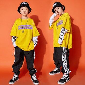 Amarillo danza niños Impresión de actuación de street Dance ropa de la ropa de los niños de Hip Hop traje Rave DC2962