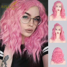AISI BEAUTY 13*4 Pink Synthetic Lace Front Wigs Wavy Short Wig